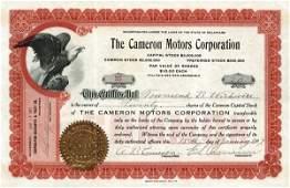 5009: Cameron Motors 1917 Stock Certificate