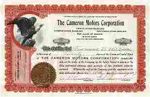 Cameron Motors 1917 Stock Certificate