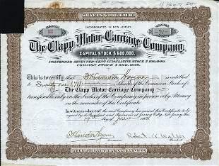 Clapp Motor-Carriage 1900 Stock Cert