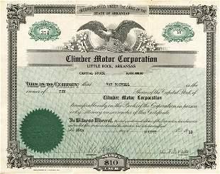 Climber Motor 1919 Stock Certificate