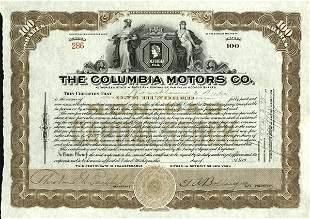 Columbia Motors 1923 Stock Certificate