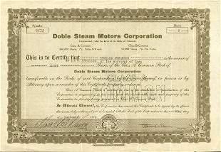 Doble Steam Motors 1922 Stock Cert