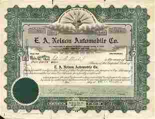 E.A. Nelson Automobile 1920 Stock Cert