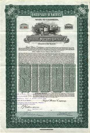 Fageol Motors Stock Certificate Pair (2)