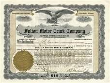 5018: Fulton Motor Truck 1919 Stock Certificate