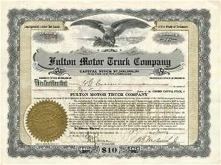 Fulton Motor Truck 1919 Stock Certificate