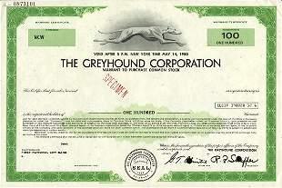 Greyhound 1970 Specimen Stock Cert