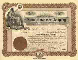 Haibe Motor Car 1923 Stock Certificate