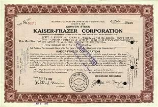 Kaiser-Frazer 1949 Stock Certificate