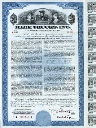 Mack Trucks 1956 $500 Specimen Bond