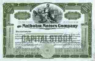 Maibohm Motors Specimen Stock Cert