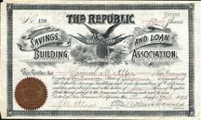 5077: 1890 CA Building Assoc. Stock Certificate
