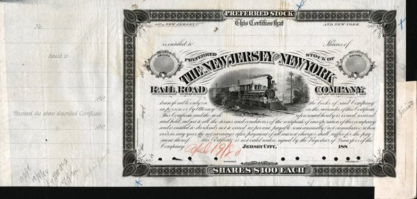 5375: New Jersey & New York RR Proof Stock