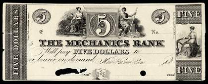 6004: CT New Haven. Mechanics Bank. $5. Proof