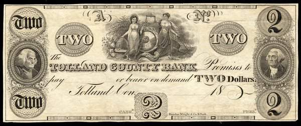 6009: CT Tolland County Bank. $2. 1830s Proof