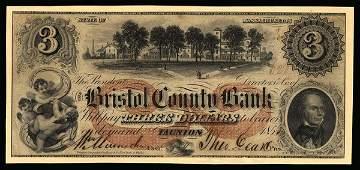 6174: MA Taunton. Bristol County Bank. $3. 1852