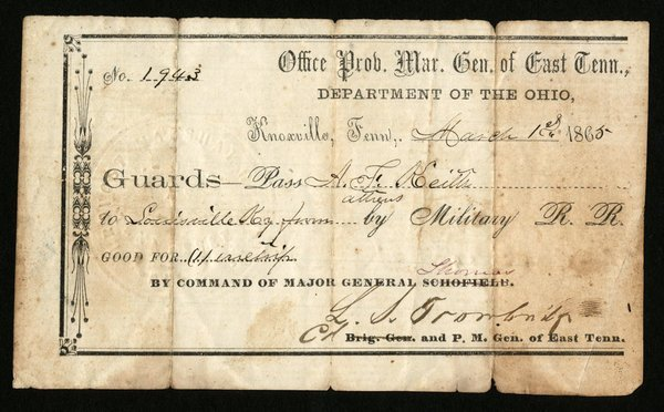 CIVIL WAR: MILITARY PASS - 3/1/1865, TN