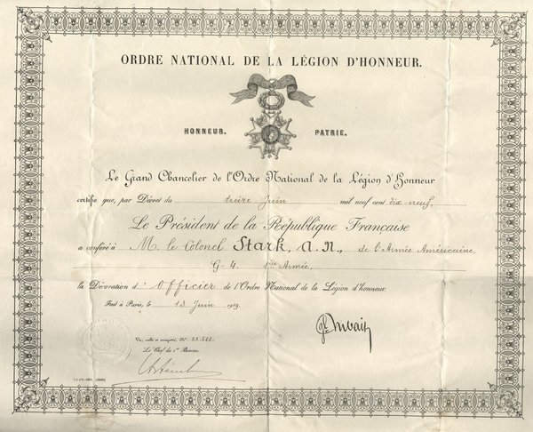 FRENCH: LEGION D'HONNEUR - 1919 to US GI