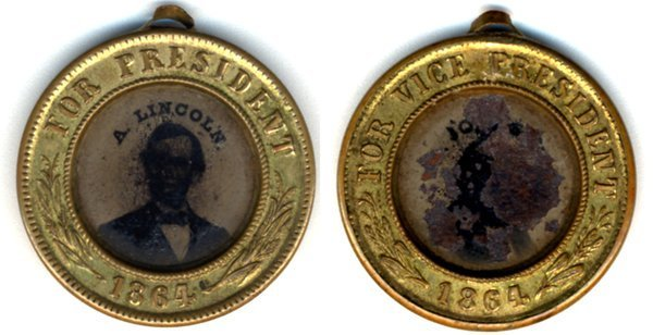 LINCOLN/JOHNSON POLITICAL BADGE -ferrotype