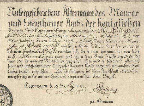 MASONRY: COPENHAGEN 1828- DS