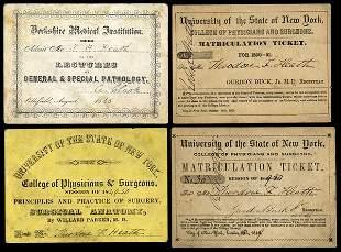 MEDICAL: LECTURE TICKETS - 21 pcs ca 1850