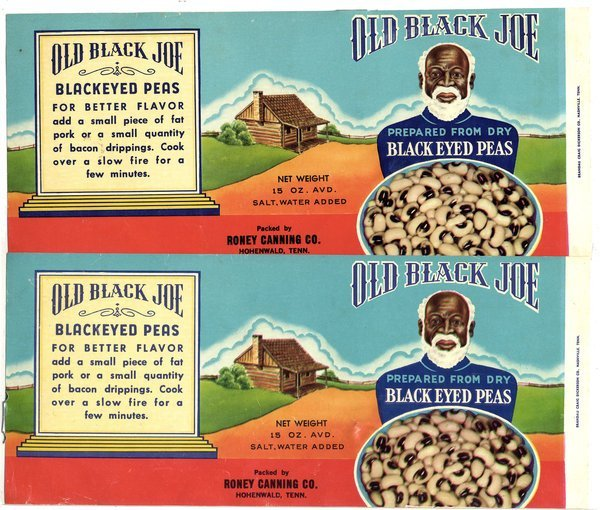 OLD BLACK JOE LABELS - canned peas labels