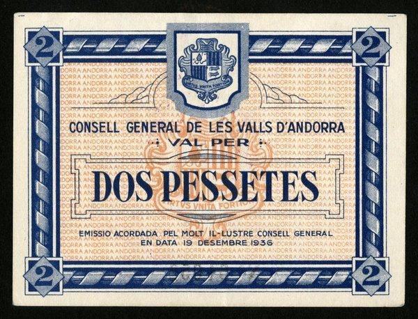Andorra  2 Pessetes. P-2. 1936