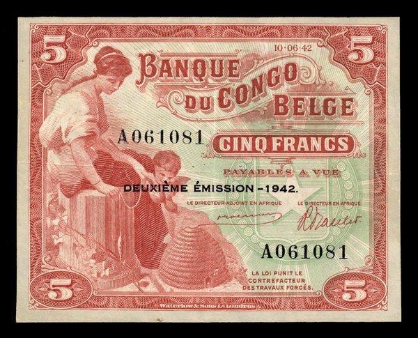 Belgium Congo 1942 5 Francs P-13