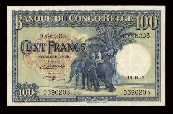 Belgium Congo 1947 100 Francs P-17c