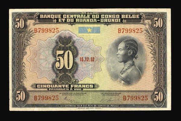 Belgium Congo 1952 50 Francs P-24