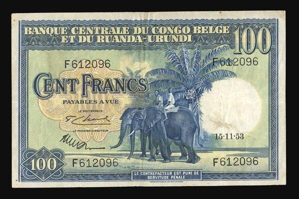 Belgium Congo 1953 100 Francs P-25a