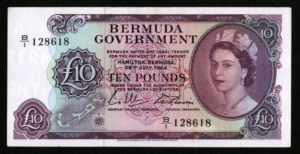 Bermuda 28.7.64. 10 Pounds. P-22.