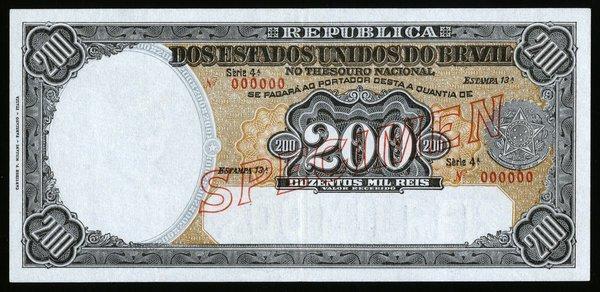 Brazil 200 Mil Reis P-78s Specimen