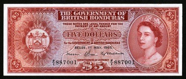 British Honduras. $5 P-30b. Unc.