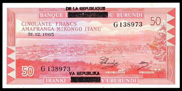 Burundi 1965 50 Francs P-16a AU-Unc.