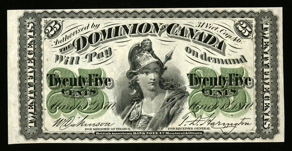 Canada. 1.3.1870 25 cents DC-1c AU