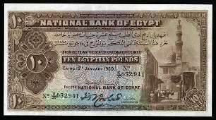 Egypt 1920 10 Pounds P-14  EF-AU