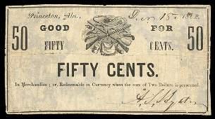 AL Princeton A.S. Sydney 50¢ 1862 Fine