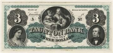 MA Taunton Bank. $3. 1860s. Proof