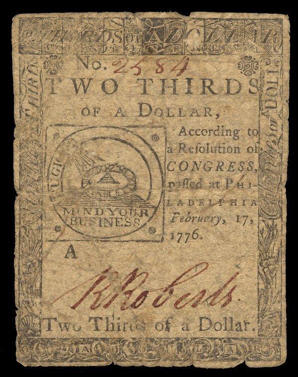 Continental 2.17.1776 $2/3 (2) Fugio