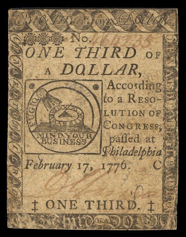 Continental 2.17.1776 $1/3 VF-EF