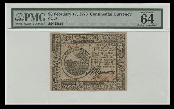 Continental 2.17.1776 $6. Ch Unc.