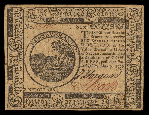 Continental 5.9.1776 $6. Beaver. EF-AU