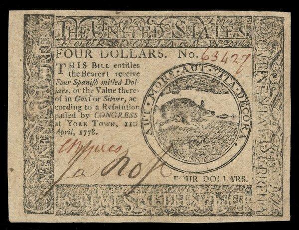 Continental 4.11.1778 $4. Yorktown AU