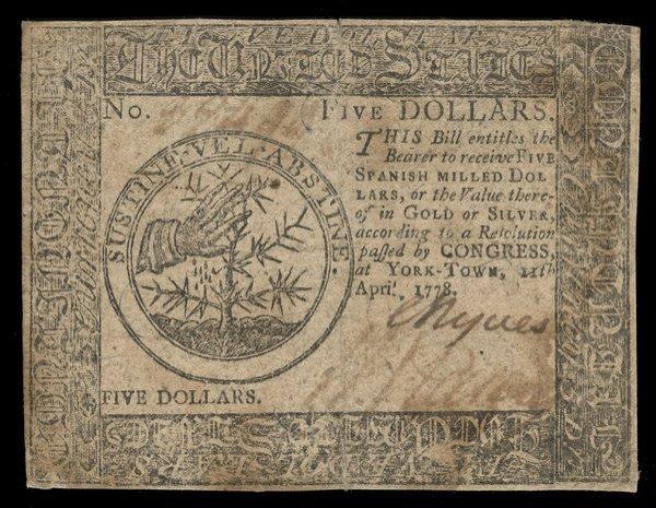 Continental 4.11.1778 $5. Yorktown VF