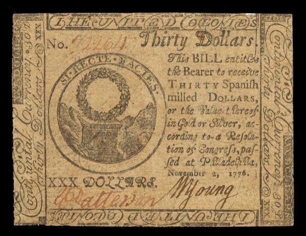 Three Continental Notes. $20, $30, $70.
