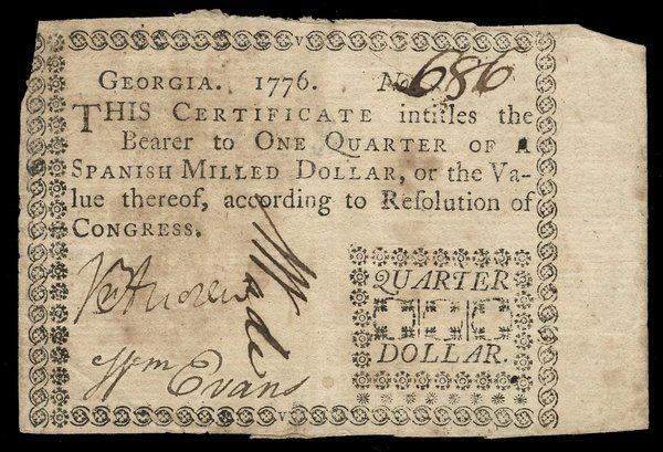 Colonial Georgia 1776 $1/4 VF-EF