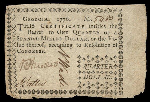 Colonial Georgia 1776 $1/4 VF