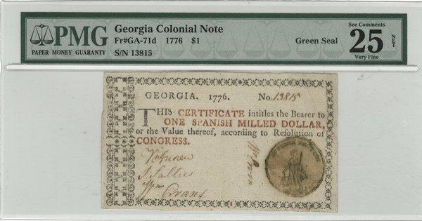 Colonial Georgia 1776 $1 Fine