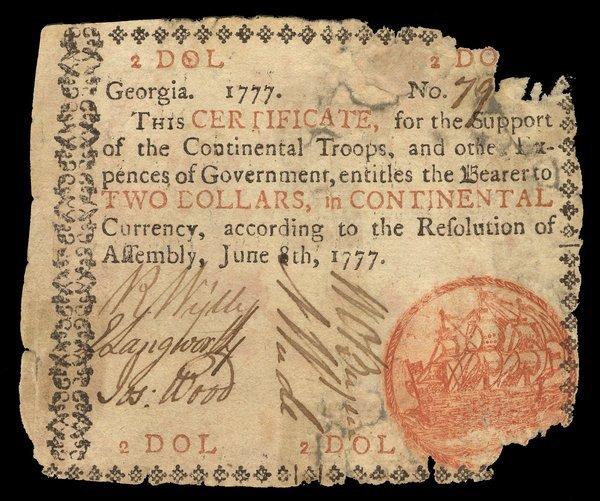 Colonial Georgia $2. 1777. Fair